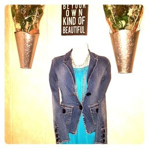 Hollister Denim Stretch Blazer Button Accents EUC
